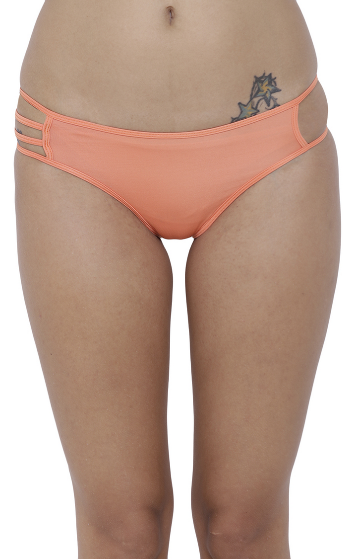 Peach Solid Hipster Panties