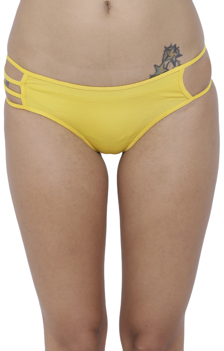 Yellow Solid Hipster Panties