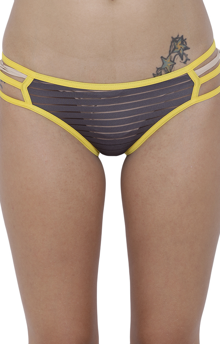 BASIICS by La Intimo | Grey Striped Bikini Panty