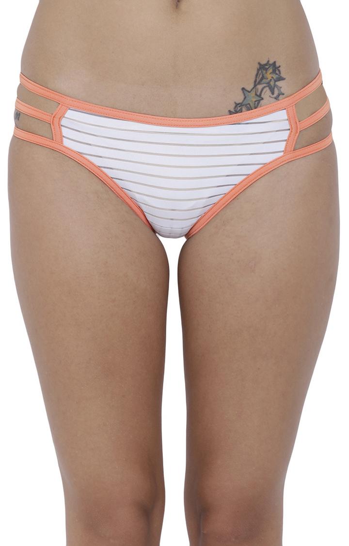 BASIICS by La Intimo | White Striped Bikini Panty