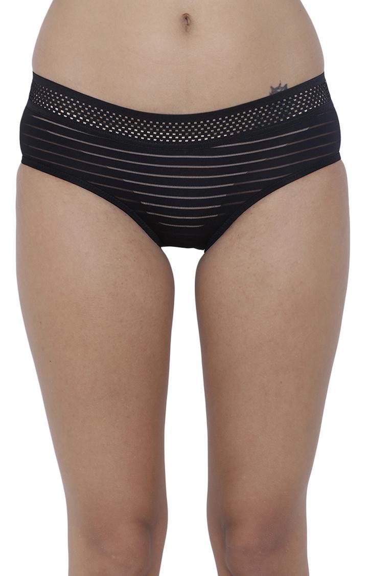 BASIICS by La Intimo | Black Striped Hipster Panties