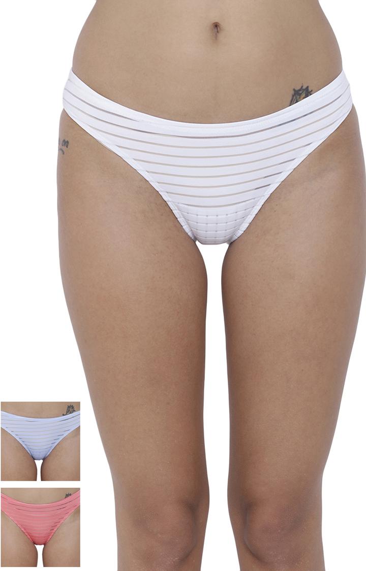 BASIICS by La Intimo | Multicoloured Striped Bikini Panty - Pack of 3