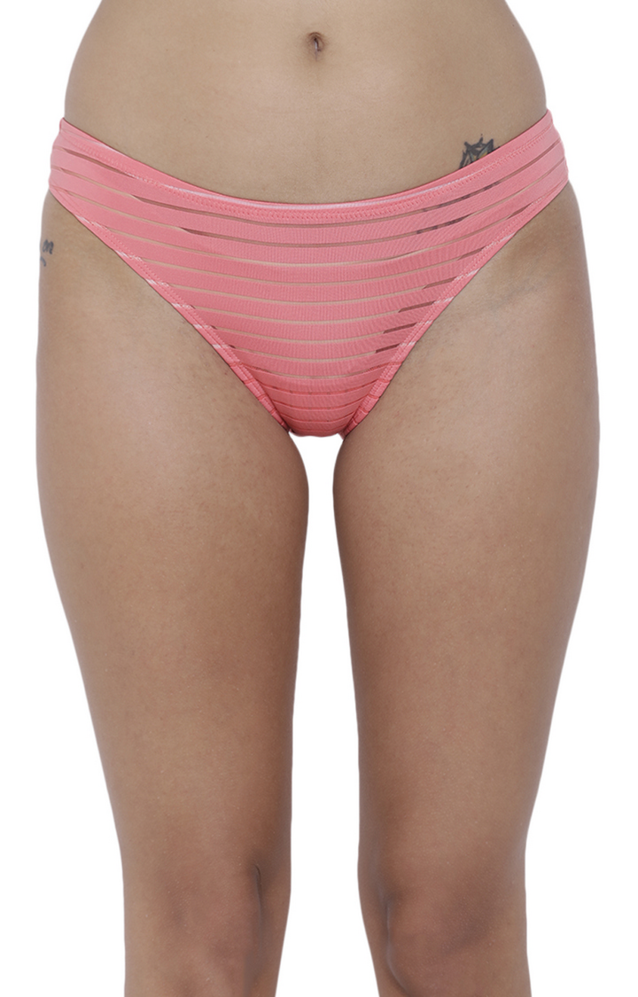 BASIICS by La Intimo | Coral Striped Bikini Panty