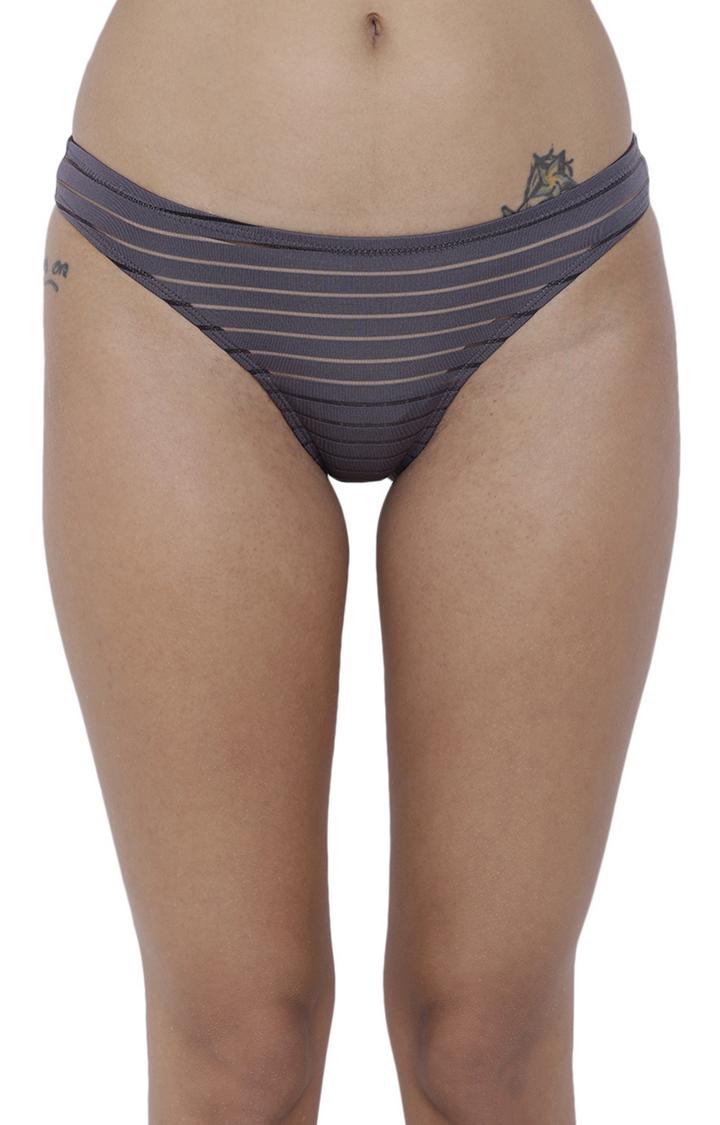 Grey Striped Bikini Panty