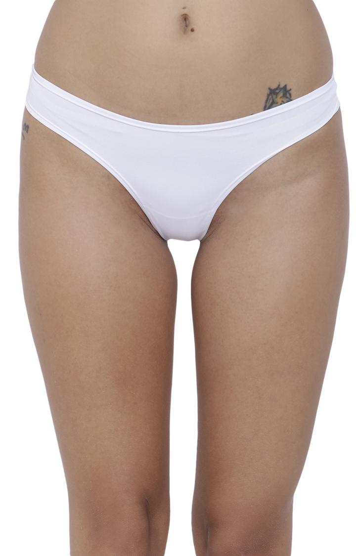 BASIICS by La Intimo | White Solid Thongs