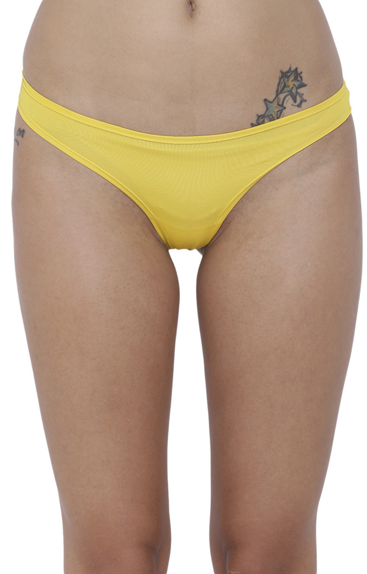 BASIICS by La Intimo | Yellow Solid Thongs