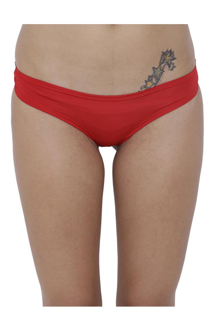 Red Solid Bikini Panty