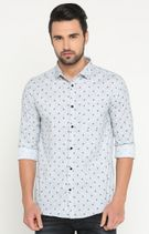 Grey Printed Casual Shirt