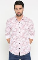 White and Pink Printed Casual Shirt