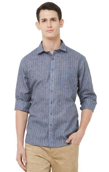 EVOQ | Blue Striped Linen Casual Shirt