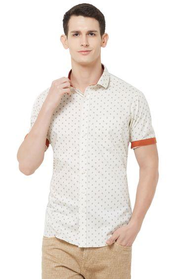 EVOQ | Cream Printed Cotton Casual Shirt