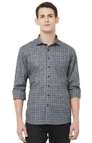EVOQ | Grey Checked Linen Casual Shirt