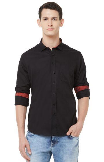 EVOQ | Black Solid Cotton Casual Shirt