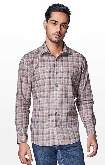 EVOQ | Brown Checked Casual Shirt