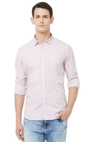 EVOQ | Pink Striped Cotton Casual Shirt