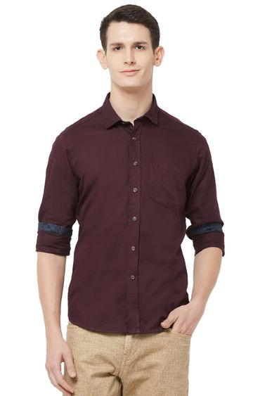 EVOQ | Maroon Solid Cotton Casual Shirt