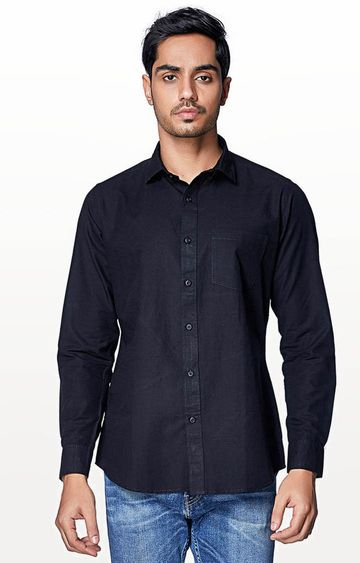 EVOQ | Black Solid Casual Shirt