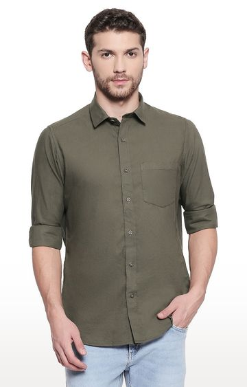 EVOQ   Green Solid Casual Shirt