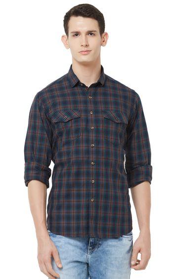 EVOQ | Green Checked Cotton Casual Shirt