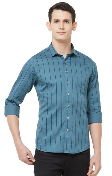 EVOQ | Blue Striped Cotton Casual Shirt