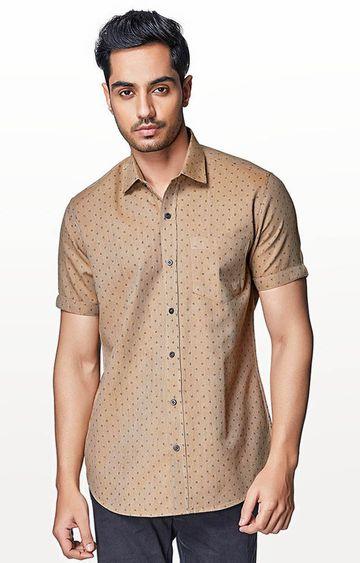 EVOQ   Brown Printed Casual Shirt