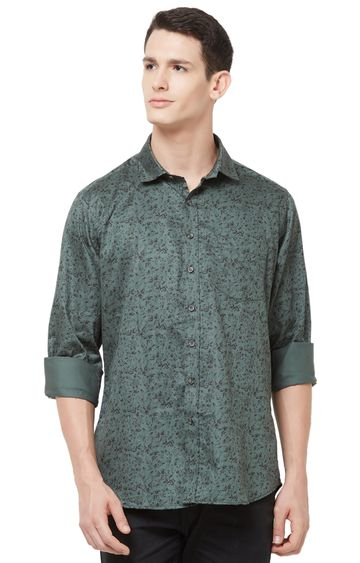 EVOQ | Olive Printed Cotton Casual Shirt