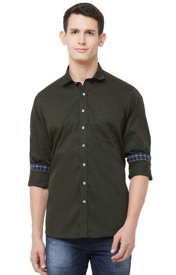 EVOQ | Dark Green Solid Cotton Casual Shirt