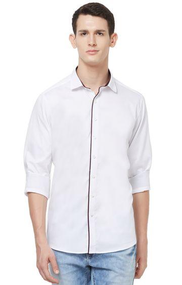 EVOQ | White Solid Cotton Casual Shirt