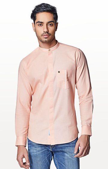 EVOQ   Peach Solid Casual Shirt