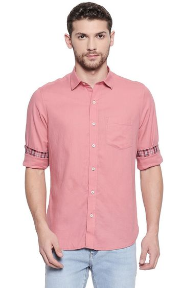 EVOQ | Dark Pink Solid Casual Shirt