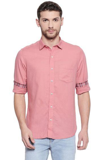 EVOQ | Dark Pink Solid Casual Shirt