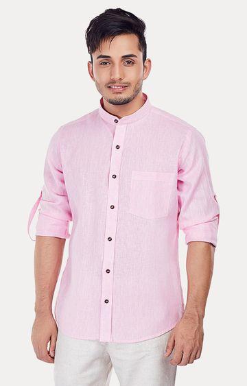 EVOQ | Pink Melange Casual Shirt