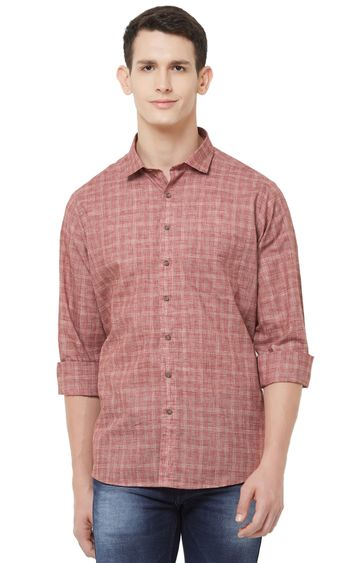 EVOQ | Red Checked Linen Casual Shirt