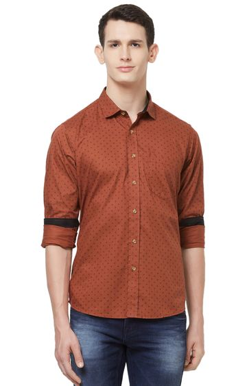 EVOQ | Rust Printed Cotton Casual Shirt