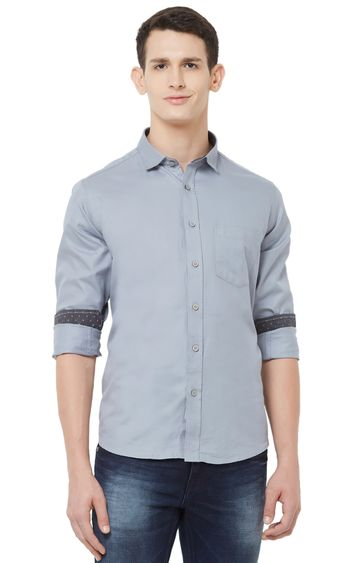 EVOQ | Grey Solid Cotton Casual Shirt