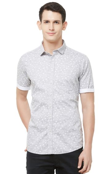 EVOQ | Grey Printed Cotton Casual Shirt