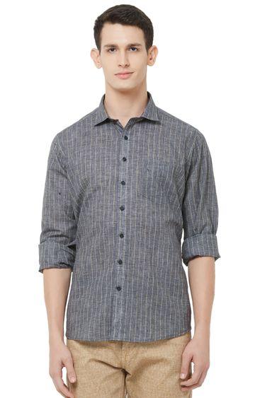 EVOQ | Grey Striped Linen Casual Shirt