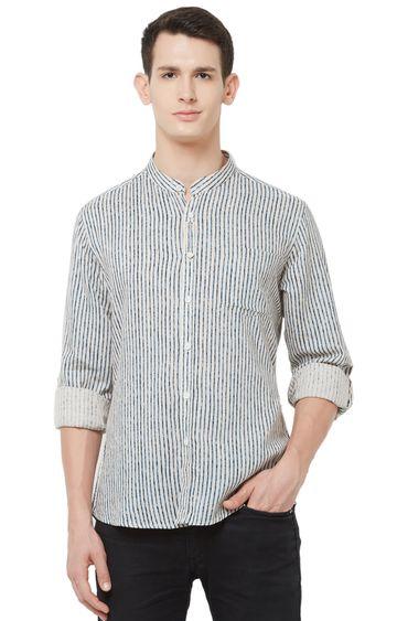 EVOQ   White Striped Cotton Casual Shirt