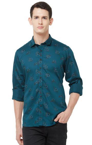 EVOQ   Green Printed Cotton Casual Shirt