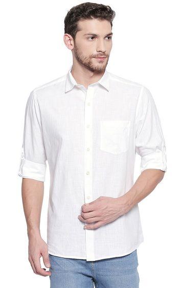 EVOQ | White Solid Casual Shirt