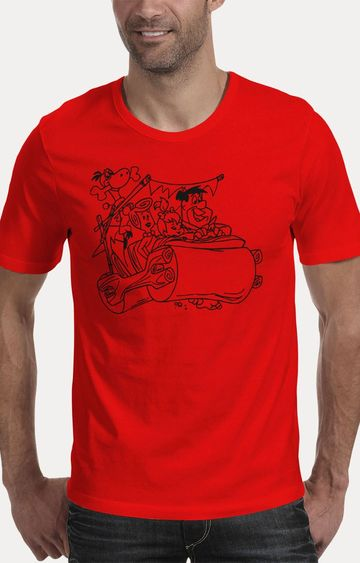 We The Chic | Red The Flintstones Printed T-Shirt