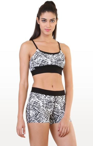 SilverTraq | White Printed Sports Bra
