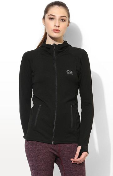 SilverTraq | Black Solid Activewear Jacket