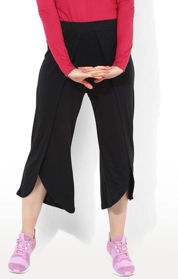 SilverTraq | Black Solid Yoga Pants