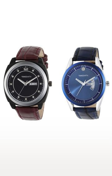 Timesmith | Timesmith Brown and Blue Analog Watch - Set of 2 For Men