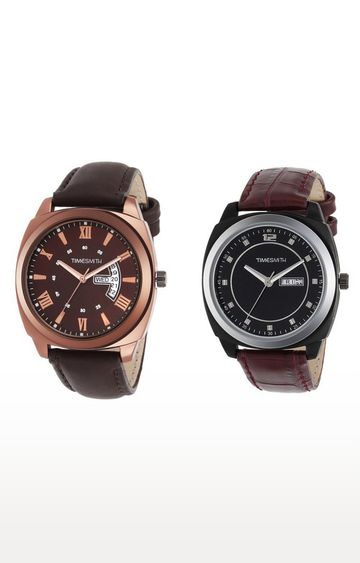 Timesmith | Timesmith Brown Analog Watch - Set of 2 For Men