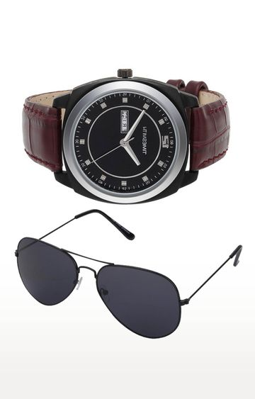 Timesmith | Timesmith Brown Analog Watch and Aviators Combo For Men