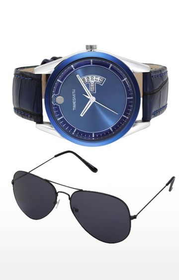 Timesmith | Timesmith Blue Analog Watch and Aviators Combo For Men