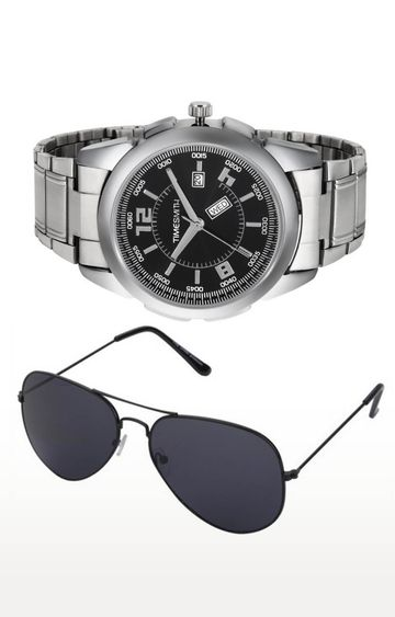 Timesmith   Timesmith Silver Analog Watch and Aviators Combo For Men