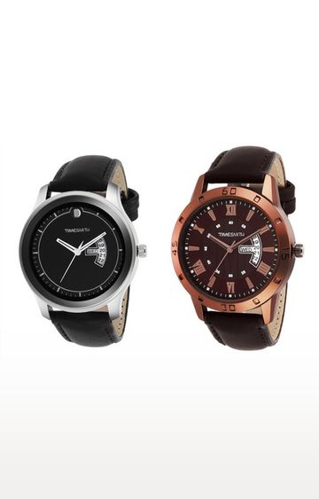 Timesmith | Timesmith Black and Brown Analog Watch - Set of 2 For Men